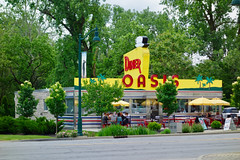 The OASIS DINER (mrgraphic2) Tags: rx100 oasis diner plainfield indiana neon sign yellow seats