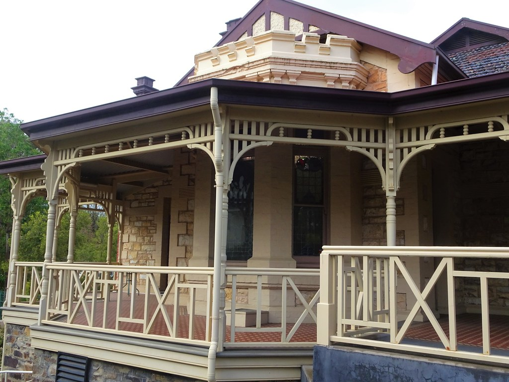 Wayville Adelaide. Mawson House built in 1911 in Queen Anne style but with crenulations above the bay windows and main entrance porch.