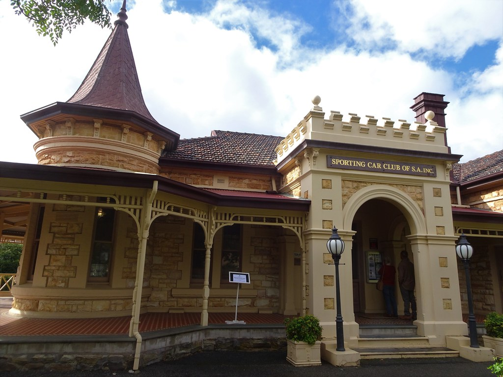Wayville Adelaide. Mawson House built in 1909 in Queen Anne style but with crenulations above the bay windows and more above main entrance porch. Now headquarters of the Sporting Car Club of South Australia.