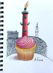 """Sketch """"Happy birthday, Saint-Petersburg!"""" (Anne Gavr) Tags: sketch drawing saintpetersburg cupcake candle watercolorpencils coloredpencils sketchbook urbanlandscape inkpens idea kreative"""