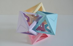 Four Interlocking Octahedra #3 (Byriah Loper) (Byriah Loper) Tags: origami origamimodular modularorigami modular memo compound complex byriahloper byriah paperfolding paper polygon polyhedron octahedron tetrahedral wireframe woven folding