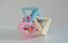 Four Interlocking Octahedra #3 (Byriah Loper) (Byriah Loper) Tags: origami origamimodular modularorigami modular memo compound complex byriahloper byriah paperfolding paper polygon polyhedron octahedron tetrahedral wireframe woven