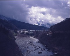 (✞bens▲n) Tags: mamiya 7ii kodak e64d 80mm f4 film analogue slide 6x7 expired japan nagano landscape river mountains kiso