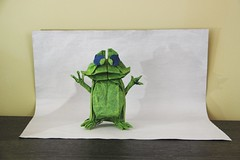 Origami Cartoon Frog (Sasha CraftSpace) Tags: origami fold frog oneuncutsquare comedic cartoon nicolasterry