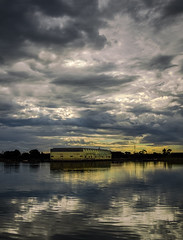 Port River 01 (Diripics) Tags: river sheds warehouses storem clouds reflections twilight