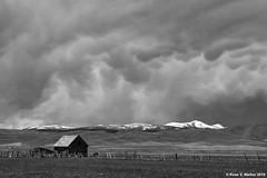 Incoming Storm - Black and White Version (walkerross42) Tags: clouds storm mammatus barn mountain shermanpeak montpelier bearlakevalley idaho spring monochrome blackandwhite