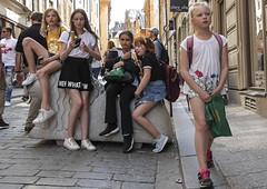 Children in Old Town in Stockholm, Sweden 22/5 2019. (photoola) Tags: stockholm street barn gamlastan oldtown children sweden photoola girl västerlånggatan