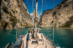 Canal passage.... (Dafydd Penguin) Tags: gorge navigation corinth canal greece aegean sea water yacht yachting sailboat sail boat vessel sailing cruising hallberg rassy gulf athens leica m10 21mm super elmar f34 asph