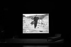 Moving in The Desert (O Lobão) Tags: bw monochromatic sooc porto portugal serralves art exhibition movie susanhiller stage people desert
