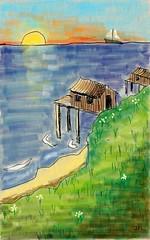 bord de mer et coucher de soleil (klaxodessin) Tags: dessin drawing tablette tabletcomputer touchpad digital mer sea soleil sun plage beach bleu blue vert green