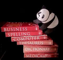 Good Panda goes to School  !  Learning to move higher ! (Sriini) Tags: goodpandacontest panda books low key lowkey computer management samsung mobile english climb hank thank you nikon nikkor