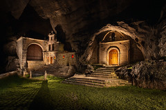 Hermitage at Night (J C Mills Photography) Tags: san bernabe ojo guareña spain espana light painting night long exposure nightscape church rock stone cave atmospheric outdoors magical door entrance