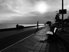 OBF_1763 (onurbayic) Tags: men sea side istanbul sun park evening cornseller light couple blackandwhitephoto blackandwhite ball water bw decision horizon oneway