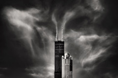 Out of Bottle Experience (Carl's Captures) Tags: searstower willistower antennae 311southwackerdrive architecture skyscrapers urban atmosphere clouds towers buildings modern swirls mono monochrome may spring spirals patterns wisps wispy moody vertical fantasy whimsical highcontrast drama dramatic unbottled ubottlement release freedom wishes genie myth fable legend chicagoillinois cityofchicago downtown cookcounty cityscape thewindycity chitown mood nikond7500 sigma18300 photoshopbyfehlfarben thanksbinexo