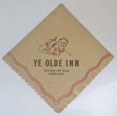 YE OLDE INN OAKLAND CALIF (ussiwojima) Tags: yeoldeinn inn bar cocktail lounge oakland california advertising napkin