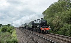 44871 + 60103. Tindale Bank Road. (Alan Burkwood) Tags: lms stanier class5mt 44871 lner gresley a3 pacific 60103 flyingscotsman steam locomotives z73 yorknrmsouthallwcr support coaches tindalebankroad