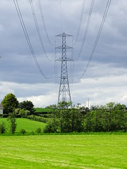 WHITE CLOUDS GREEN GRASS BLUE SKY AND THE PYLONS (Monkiiiey Henry Clark) Tags: white clouds green grass blue sky and the pylons