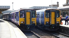 150 vs 153 (The Walsall Spotter) Tags: sheffield railway station south yorkshire class 1502 class153 sprinter dmu 150224 153360 153352 dogbox first generation northernrail uk diesel multipleunit britishrailways networkrail train