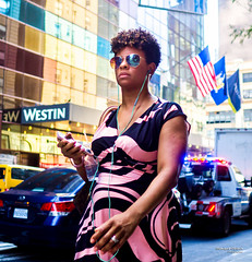 The New Yorkers - Pink (François Escriva) Tags: street streetphotography us usa nyc ny new york people candid olympus omd photo rue sun light woman colors sidewalk manhattan pink black sunglasses dress flags car cab building glass