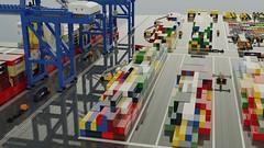 Micro Freight Terminal (ABS Shipyards) Tags: lego micro intermodal freight terminal cargo ship container roro train heavy equipment excavator loader scraper mining truck reach stacker gantry crane ldd