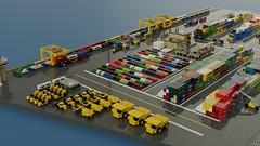 Micro Freight Terminal (ABS Shipyards) Tags: lego micro intermodal freight terminal cargo ship container roro train heavy equipment excavator loader scraper mining truck reach stacker gantry crane ldd render