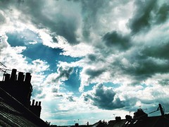 40/365 Up in the clouds ☁️ (Gingernutty Photography) Tags: chimneys rooftops showers dramaticsky darkclouds sky clouds