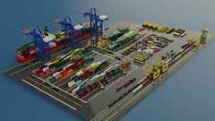 Micro Freight Terminal (ABS Shipyards) Tags: lego micro intermodal freight terminal cargo ship container roro train heavy equipment excavator loader scraper mining truck reach stacker gantry crane ldd render