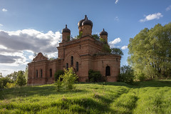 Abandoned Church. (Oleg.A) Tags: grass sunny penzaregion russia church nature orange tree orthodox style village ruined shadow building sunset old brick outdoor belogorka evening light sun blue colorful destroyed ancient cathedral dome countryside exterior green skyscape architecture sky design field