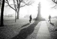 Stockholm, March 10, 2016 (Ulf Bodin) Tags: shadow spring sverige sunrise mist walking outdoor dimma nybroplan vår canoneosm3 canonefm222stm fog streetphotography sweden stockholm urbanlife stockholmslän