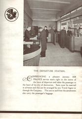 1934 Golden Clipper Booklet, english Version, unfolded, Page 3, Departure Station (afvintage) Tags: airfrance departurestation london 1934 12 totheinside logo logotype crevette londonagency londonparisservice