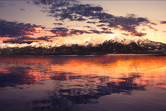 Finally Back (miss.interpretations) Tags: red mountains lake water sunrise sunset coloradosunset coloradosunrise clouds expanse peace flickr missinterpretations rachelbrokawphotography colorado vibrant white peaks snow pano coloradomountains canon pink peach goldenhour goldlight