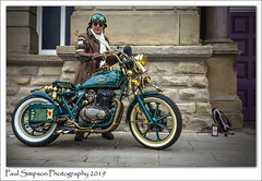 Steampunk Motorbike (Paul Simpson Photography) Tags: doncaster steampunk cosplay costume steampunkevent motorbike bike imagesof imageof photoof photosof sonya77 paulsimpsonphotography transport steampunkcostume fancydress helmet goggles actor