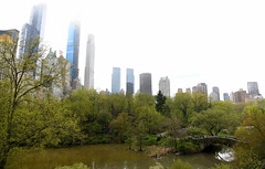 Central Park (Anthony Mark Images) Tags: stonebridge littlebridge bridge pond trees people skyscrapers hotels apartments centralpark newyork nyc bigapple manhattan lovely quiet expensiverealestate flickrclickx nikon d850 fog
