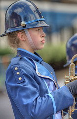 Marching By (Scott 97006) Tags: musician trumpet band march uniform parade blonde lady female woman beauty