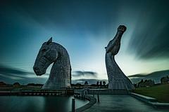 """The Kelpies"" (ianbonnell) Tags: thekelpies falkirk scotland longexposure horses dusk publicart sculpture"