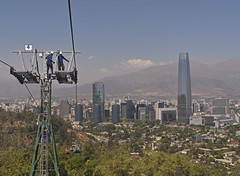 Chile - Santiago - Cerro San Cristobal - Costanera Center (Harshil.Shah) Tags: santiago chile cerro san cristobal costanera center costaneracenter andes america south city urban skyline cityscape suburb las condes mountains cable car cablecar workers maintenance construction altitude teleferico