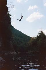 Leap of faith (Peter Bruijn) Tags: nikon nikonl35af l35af l35ad l35af2 compact camera film camer filmcamera filmisnotdead filmphotography filmphoto 135film 135 35mm 35mmphotography 35mmphoto 35mmfilm 35mmanalog kodak35mm kodak kodakfilm kodakanalog kodakcolor kodakcolor200 kodak200 millau france water jump cliff diving pakon pakonf135 f135