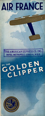 1934 Golden Clipper Booklet, english Version, folded (false first cover) (afvintage) Tags: airfrance goldenclipper parislondon londonparis 1934 booklet logotype crevette whiteblueandgold theamericanexpresscompanyinc americanexpress metropolehotel london amex