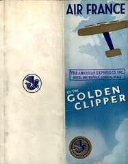 1934 Golden Clipper Booklet, english Version, unfolded (false first & last covers) (afvintage) Tags: airfrance goldenclipper 1934 parislondon londonparis whiteblueandgold logotype crevette booklet quadrichromie fourcolorprocess americanexpress theamericanexpresscompanyinc amex
