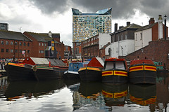 Birmingham (Thomas Roland) Tags: reflection grey sky himmel travel rejse trip city by birmingham uk united kingdom great britain england nikon d7000 europa europe new arkitekt architecture contemporary design thecube architect ken shuttleworth makearchitects boat canal narrowboat