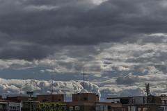 En las nubes ... (ninestad) Tags: clouds nubes terrazas antenas edificios buildings roofs terraces nublado cloudy ventanas windows madrid