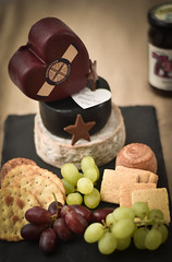 cheese cake (Snapdragon Lincs) Tags: food cake cheese table heart grapes crackers cheddar celebrationsfamily