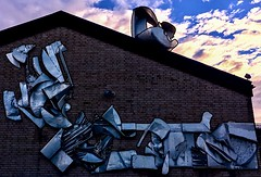 Metallic Wall Art (halleluja2014) Tags: school abstract art wall evening sweden metallic konst metall dalarna falun psycedelic abstrakt metalsculpture metalart trueart ambitious rostfritt rustfree britsarvsskolan tegelbruksskolan nocorrosion