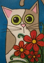 Cat in the Flowers ATC (janniebyeehaw) Tags: swapbot cat kitty atc artisttradingcard janniebhanddrawn flowers copic
