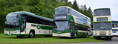 Lothian Country Plaxton Leopard Interurban SB19GKL, Wright Gemini Eclipse 3 SJ67MFF along with preserved Eastern Scottish Volvo E187HSF at the 2019 SVBM open day at Lathalmond (andyflyer) Tags: