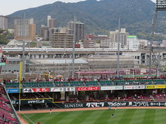 Shinkansen views (Sean_Marshall) Tags: hiroshimatoyocarp carp hiroshima japan 広島東洋カープ baseball stadium shinkansen jr train 広島市 広島