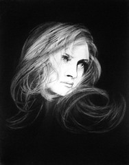 DIVINE (Sketchbook0918) Tags: charcoal celebrity actress portrait drawing paper shadow umathurman exquisite beautiful hair woman