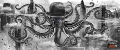 MODERN GHOST - Drone (surRANTo dwisaputra) Tags: blackwhite digitlart octopus magritte bowler hat tentacle trunk ivory elephant cloud building city