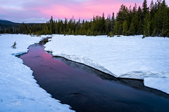 Creek in Mountain Meadow (TierraCosmos) Tags: mountbachelor stream reflection sunset landscape snow meadow water sky colorfulsunset clouds snowyscene trees forest deschutesnationalforest creek
