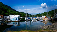 Genoa Bay (Sworldguy) Tags: vancouverisland genoabay picturesque marina cowichanvalley boathouses yachts boats mountains sky clouds calm reflections forested sonya73 landscape travel britishcolumbia canada spring